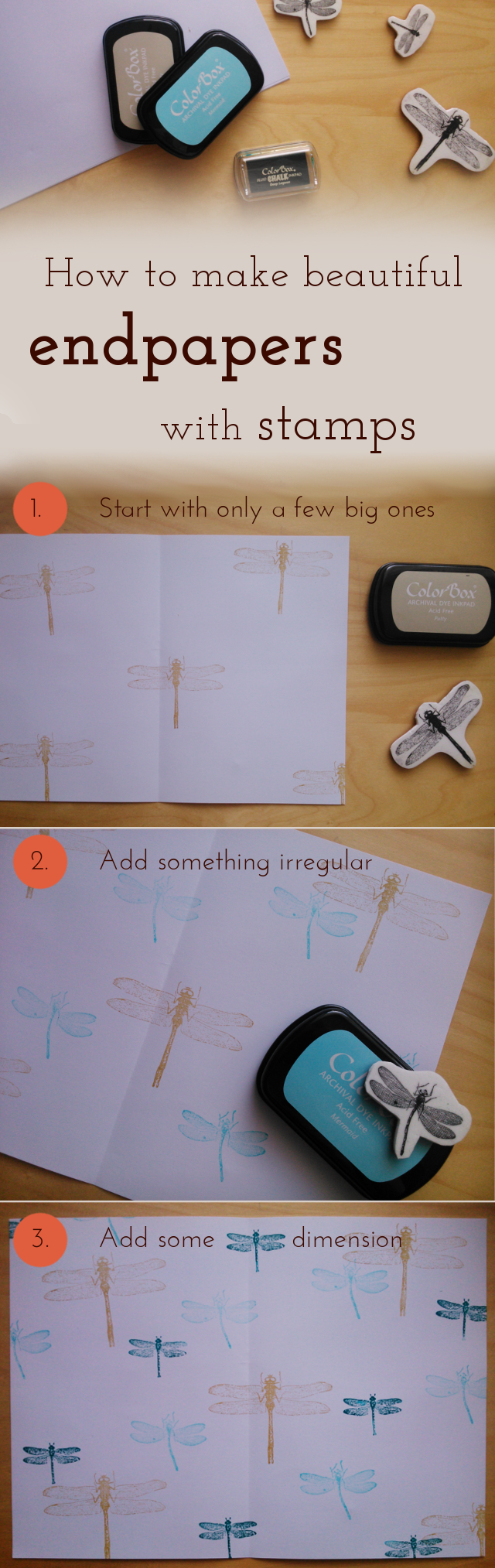 Here's a little how-to for beautiful DIY endpapers with stamps. Of course you could use this as your self-made craft paper for cards, envelopes gift wrapping paper or all other kinds of ideas.